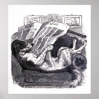 """Illustration för vintage för läs- """"tidning för hun poster"""