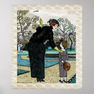 Illustration för vintageart nouveauhöst poster