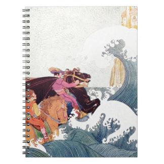 Illustration för vintageberättelsebok: Ett Anteckningsbok Med Spiral