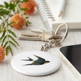 Illustration för vintagesvalafågel rund nyckelring