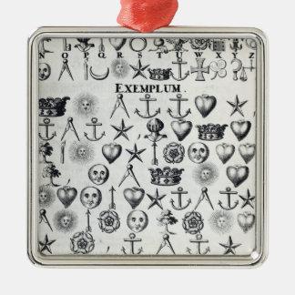 Illustration från bok 9 silverfärgad fyrkantigt julgransprydnad