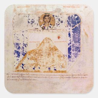 Illustration från en kopiera av 6eårhundradet fyrkantigt klistermärke