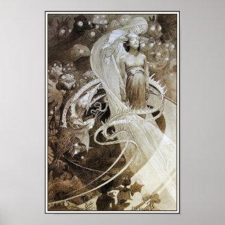 Illustration från Le Pater av Alphonse Mucha Print