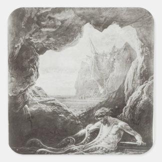 Illustration från 'Les Travailleurs de la Mer' Fyrkantigt Klistermärke