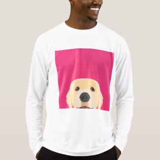 Illustration guld- Retriver med rosa bakgrund T-shirts