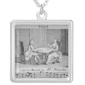 Illustration till notblad av Joseph Haydn Silverpläterat Halsband
