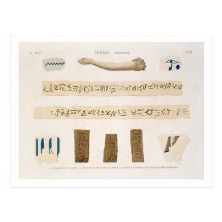 Illustrationer av Hieroglyphics och armen av en mu Vykort