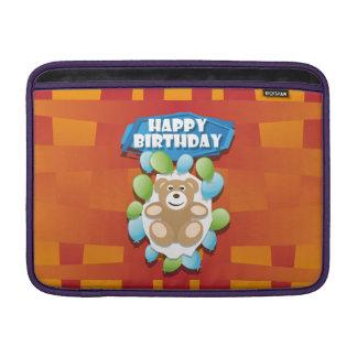 Illustrationgrattis på födelsedagennalle med MacBook sleeve