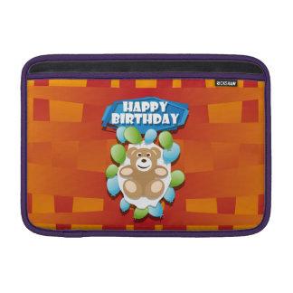 Illustrationgrattis på födelsedagennalle med sleeve för MacBook air