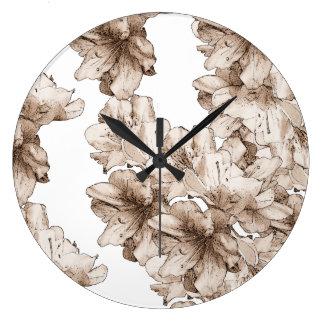 Illustrerad blommablommönster för kaffe brunt stor rund klocka