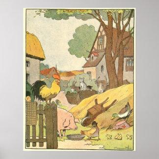 Illustrerad färgrik boskap poster