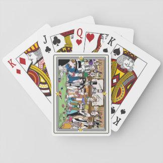 """Illustrerad """"vilda westernpokerlek"""" som leker kort spel kort"""
