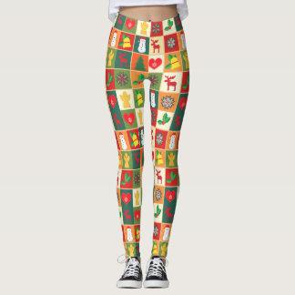 Illustrerade kvinna för jul design damasker leggings