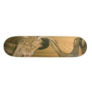 Illustrerade ögon av röker skridskon stiger ombord skateboard bräda 21,5 cm
