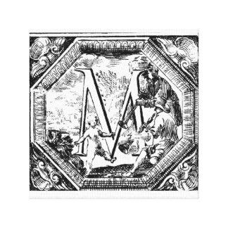 Illustrerat initialt M (den italienska träsnittet) Canvastryck