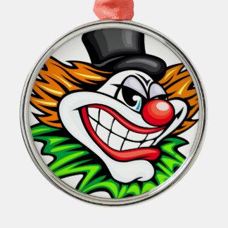 Ilsken clown Deisgn Rund Silverfärgad Julgransprydnad