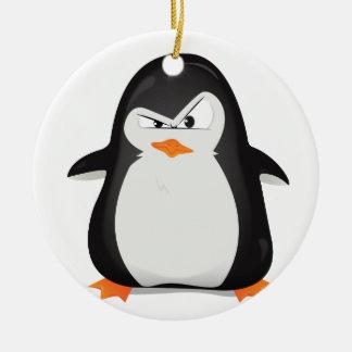 Ilsken pingvin julgransprydnad keramik