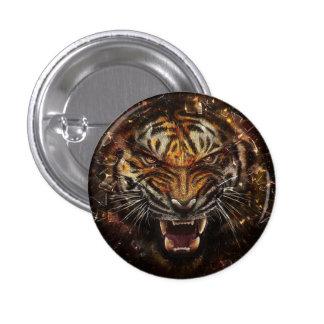 Ilsken tiger som bryter Glass Yelow Mini Knapp Rund 3.2 Cm