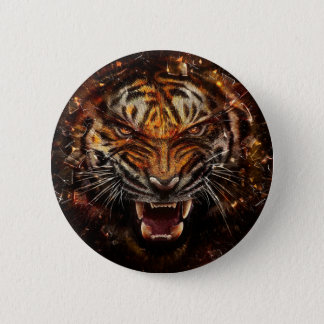 Ilsken tiger som bryter Glass Yelow Standard Knapp Rund 5.7 Cm