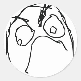 Ilsket olyckligt Meme ansikte Runda Klistermärken