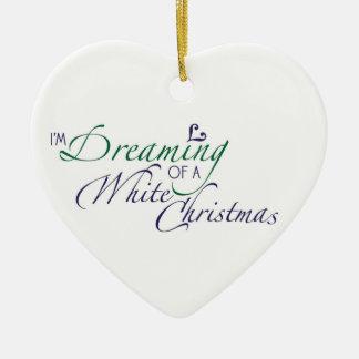 Im drömma av en vitjulprydnad julgransprydnad keramik