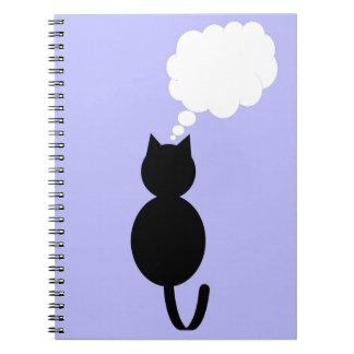 Im tänkande - svart katt anteckningsbok med spiral