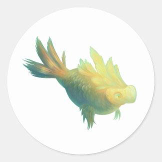 Imaginär fisk runt klistermärke