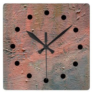 Impasto tar tid på den abstrakt akrylen fyrkantig klocka