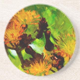 Impressionism för blommar för orange Hawkweed Underlägg Sandsten