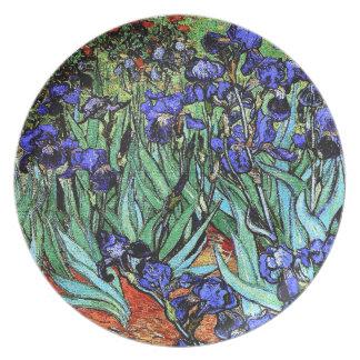Impressionism Van Gogh Irises blommor som Tallrik