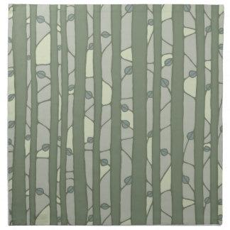 In i de gröna trasaservetterna för skogen tygservett