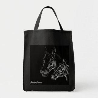 inbillade hästar hänger lös tygkasse