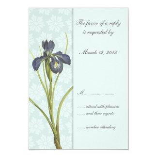 Inbjudan 1 för bröllop för blåttIris blom-