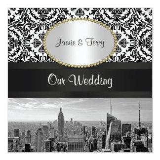 Inbjudan 2 för bröllop för damast för