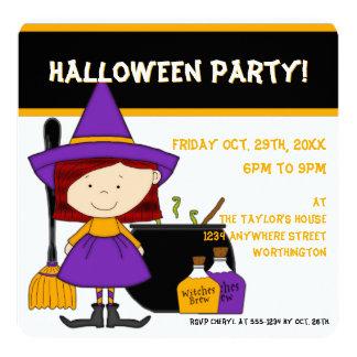 Inbjudan 7 för halloween fest för häxabrygdbarn