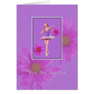 Inbjudan danshögläsning, Ballerina, rosa daisy Hälsningskort