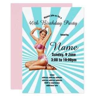 inbjudan födelsedagsfest, vintagepinupflicka