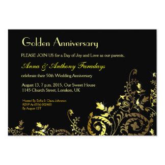 inbjudan för årsdag för guld- designprydnadar 50th