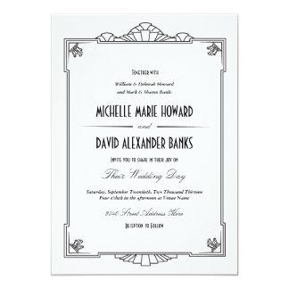 Inbjudan för art décostilbröllop
