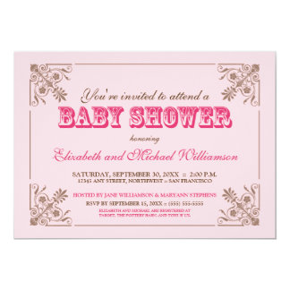 Inbjudan för baby shower 5X7 för vintage rosa