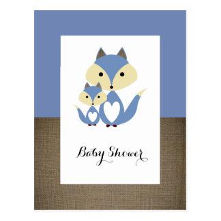 Inbjudan för baby shower för blåtträvBurlap
