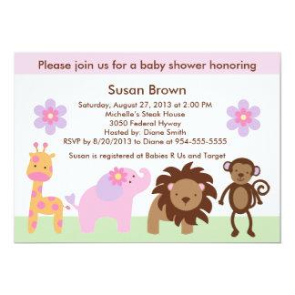 Inbjudan för baby shower för Bubblegum djungeldjur