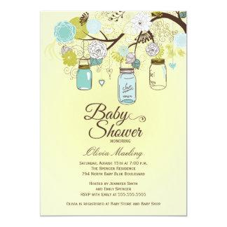 Inbjudan för baby shower för chic blåttmasonburk