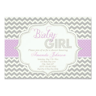 Inbjudan för baby shower för sparre för flickamod