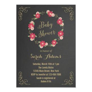 Inbjudan för baby shower för svart tavla för