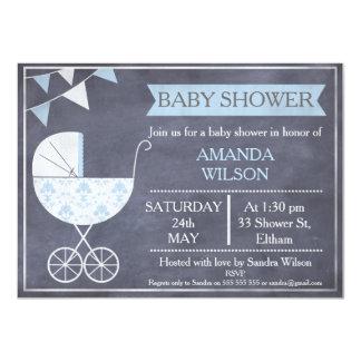 Inbjudan för baby shower för svart tavlapojkePram
