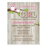 Inbjudan för baby shower för vitugglasparre vykort