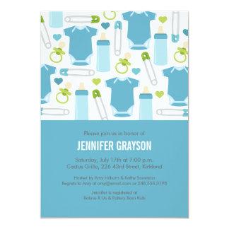 Inbjudan för babyblandningbaby shower i blått