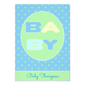 Inbjudan för babytextdusch (blått)