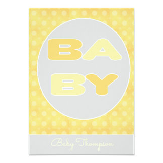Inbjudan för babytextdusch (gult)